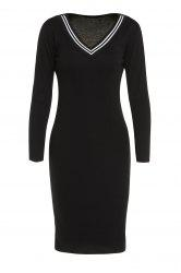 V-Neck Long Sleeve Bodycon Dress -