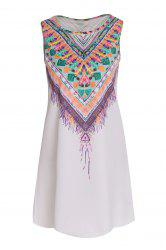Ethnic Style Scoop Neck Sleeveless Printed Women's Dress - WHITE