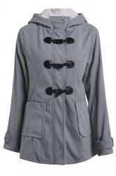 Casual Hooded Solid Color Double-Pocket Flocking Long Sleeve Coat For Women - LIGHT GRAY