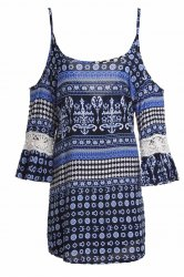 Sexy Scoop Neck Full Print Backless Dress For Women -