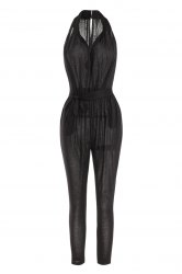 Stylish Plunging Neck Sleeveless Solid Color Pocket Design Women's Harem Jumpsuit - BLACK