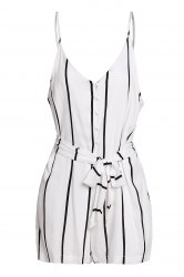 Stylish Spaghetti Strap Striped Button Design Women's Romper