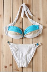 Sexy Strapless Color Block Lace-Up Women's Bikini Set -