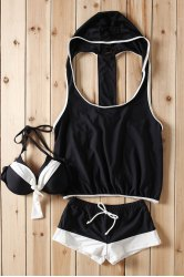 Stylish Color Block Bowknot Embellished Three-Piece Swimsuit For Women -