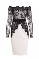 Boat Neck Long Sleeve See-Through Spliced Party Dress -