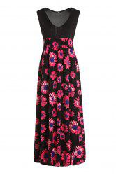 Sexy Plunging Neck Sleeveless Elastic Waist Floral Print Women's Dress -