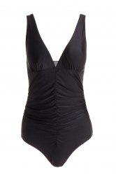 Sexy Plunging Neckline Push-Up Solid Color One-Piece Swimsuit For Women - BLACK L