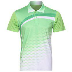 Men's Turn Down Collar Quick Dry Badminton Training T-Shirt - GREEN
