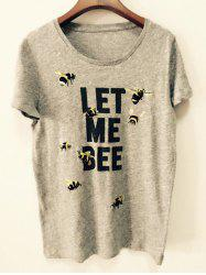Stylish Scoop Neck Short Sleeve Bee T-Shirt For Women