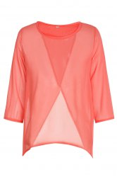 Round Neck 3/4 Sleeve Furcal Short Chiffon Blouse - ORANGE L