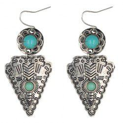 Pair of Ethnic Faux Turquoise Flower Triangle Earrings - SILVER
