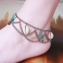 Multilayer Shell Bell Hippie Traditional Anklets - COLORMIX
