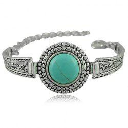 Vintage Faux Turquoise Embossed Alloy Bracelet