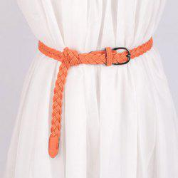 Pin Buckle Braided Skinny Belt - ORANGEPINK