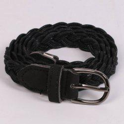 Pin Buckle Braided Skinny Belt - BLACK