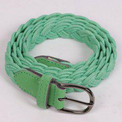 Pin Buckle Braided Skinny Belt - GREEN