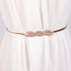 Chic Leaf Shape Buckle Alloy Elastic Waist Belt For Women -