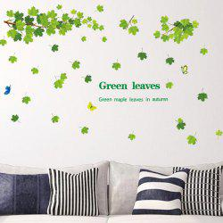 Chic Green Leaves Pattern Wall Sticker For Bedroom Livingroom Decoration -