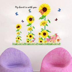 Chic Sunflowers House Pattern Wall Sticker For Bedroom Livingroom Decoration