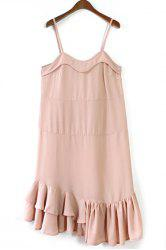 Sweet Spaghetti Straps Flounce Solid Color Dress For Women -