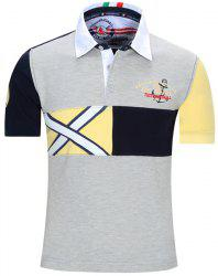 Turn-Down Collar Letters Embroidered Color Block Spliced Short Sleeve Polo T-Shirt For Men - GRAY XL