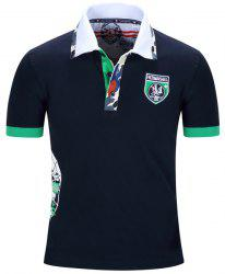 Turn-Down Collar Badge Embroidered Camo Spliced Short Sleeve Polo T-Shirt For Men - DEEP BLUE M
