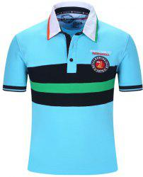 Turn-Down Collar Embroidered Color Block Stripe Short Sleeve Polo T-Shirt For Men