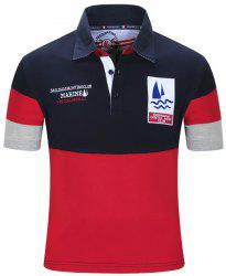 Turn-Down Collar Letters Sailing Embroidered Color Block Spliced Short Sleeve Polo T-Shirt For Men - DEEP BLUE M