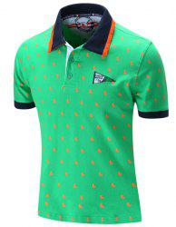 Turn-Down Collar Sailing Print Embroidered Short Sleeve Polo T-Shirt For Men