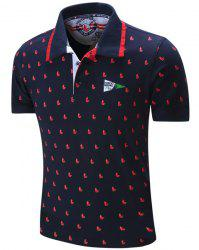 Turn-Down Collar Sailing Print Embroidered Polo T-Shirt -