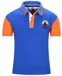 Turn-Down Collar Sailing Print Color Block Stripe Short Sleeve Polo T-Shirt For Men - BLUE