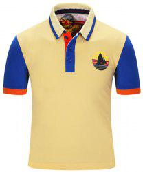 Tournez-Down Color Block Stripe Polo à manches courtes T-shirt col Voile Imprimer For Men - Jaune