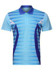 Men's Turn Down Collar Splicing Badminton Training Quick Dry T-Shirt