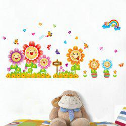 Smiling Sunflowers Cartoon Wall Sticker Home Decoration