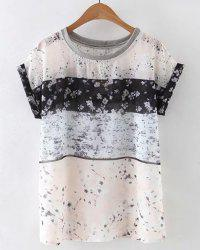 Chic Round Collar Tiny Floral Print Loose Women's T-Shirt