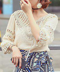 Bohemian Style V Neck 3/4 Length Sleeves Hollow Out Tassel Blouse For Women -