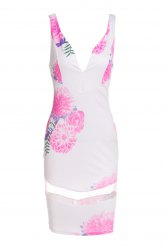 Stylish Plunging Neckline Printed Mesh Splicing Dress For Women -