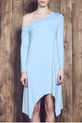 Sweet Candy Color Skew Collar Long Sleeve Asymmetric Dress For Women