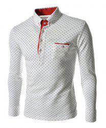 Polka Dot Print Long Sleeves Polo Shirt - WHITE
