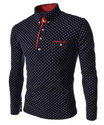 Polka Dot Print Long Sleeves Polo Shirt - CADETBLUE
