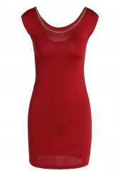 Sexy Scoop Neck Sleeveless Chains Embellished Women's Dress -