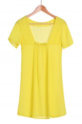 Sexy Round Collar Solid Color Backless Short Sleeve Dress For Women - LEMON YELLOW S