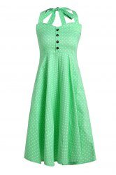 Vintage Halterneck Polka Dot Button Design Women's Dress -
