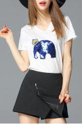 Sequined Elephant Pullover T-Shirt -