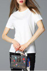 Round Collar Solid Color T-Shirt -