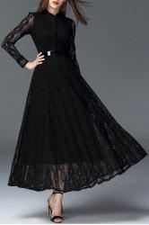 Cutwork Maxi Lace Shirt Dress