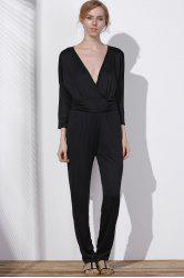 Surplice V Neck Jumpsuit - BLACK