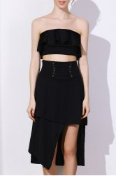 Stylish High-Waisted Lace-Up Asymmetrical Solid Color Women's Skirt