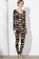 Sexy Plunging Neck Camo Long Sleeve Jumpsuit For Women -