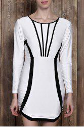 Stylish Scoop Neck Color Block Long Sleeve Bodycon Mini Dress For Women